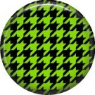 Black and Green Houndstooth, 1 Inch Punk Princess Button Badge Pin  - 0356