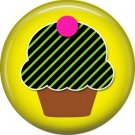 Green and Black Stripe Cupcake, 1 Inch Punk Princess Button Badge Pin - 0357