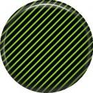 Green and Black Stripes, 1 Inch Punk Princess Button Badge Pin - 0359