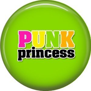 Punk Princess on Lime Green Background, 1 Inch Button Badge Pin - 0367
