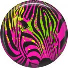 Hot Pink Zebra Head, 1 Inch Pinback Punk Princess Button Badge Pin - 0379