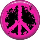 Hot Pink Distressed Peace Sign, 1 Inch Pinback Punk Princess Button Badge Pin - 0383