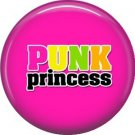 Punk Princess on Hot Pink Background, 1 Inch Pinback Button Badge Pin - 0394