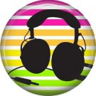 Headset on Stripe Background, 1 Inch Pinback Punk Princess Button Badge Pin - 0395