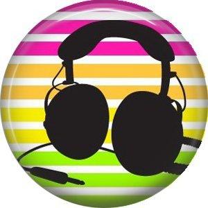 Headset on Stripe Background, 1 Inch Pinback Punk Princess Button Badge Pin - 0395