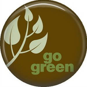 1 Inch Go Green on Brown Background, Ecology Button Badge Pin - 1338
