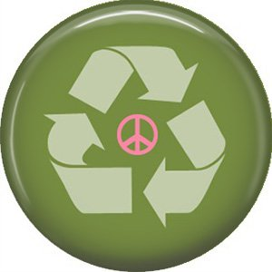 1 Inch Peace and Recycle, Ecology Button Badge Pin - 1360