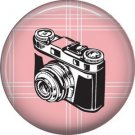 Camera on Pink Plaid, 1 Inch Photography Hobbies Button Badge Pinback - 1444
