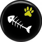 Fish Bones, Cat is Love 1 Inch Pinback Button Badge Pin - 6202