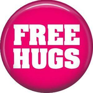 Free Hugs, 1 Inch Button Badge Pin of Fun Phrases - 1529