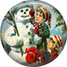 Children Building Snowman, Christmas 1 Inch Pin Back Button Badge - 1001