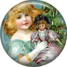 Pretty Little Girl with Her Doll, Christmas 1 Inch Pin Back Button Badge - 1007