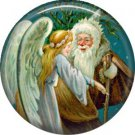 Angel with Santa, Christmas 1 Inch Pin Back Button Badge - 1009