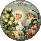 Santa with Children, Christmas 1 Inch Pin Back Button Badge - 1010