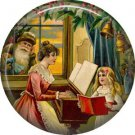 Mother and Child with Santa Looking Through Window, Christmas 1 Inch Pin Back Button Badge - 1011