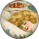 Santa Checking on Sleeping Girl, Christmas 1 Inch Pin Back Button Badge - 1013