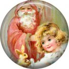 Santa with Girl, Vintage Christmas Scene 1 Inch Pin Back Button Badge - 1015