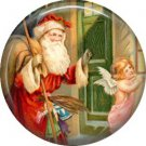 Santa with Angel, Vintage Christmas Scene 1 Inch Pin Back Button Badge - 1017