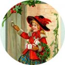 Girl in Red, Vintage Christmas Scene 1 Inch Pin Back Button Badge - 1018