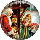 Santa with Children, Vintage Christmas Scene 1 Inch Pin Back Button Badge - 1019