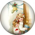 Excited Children, Vintage Christmas Scene 1 Inch Pin Back Button Badge - 1020