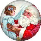 Santa with Girl, Vintage Christmas Scene 1 Inch Pin Back Button Badge - 1022