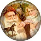 Santa Giving a Toy Horse to Child, Vintage Christmas Scene 1 Inch Pin Back Button Badge - 1023