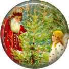 Santa With Tree, Vintage Christmas Scene 1 Inch Pin Back Button Badge - 1026