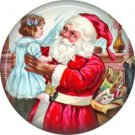 Santa Holding Girl, Vintage Christmas Scene 1 Inch Pin Back Button Badge - 1028