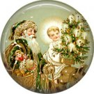 Santa with Angel and Tree, Vintage Christmas Scene 1 Inch Pin Back Button Badge - 1030