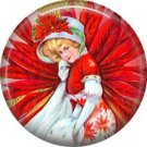 Lady in Red, Vintage Christmas Scene 1 Inch Pin Back Button Badge - 1031