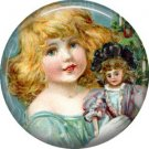 A Doll for Christmas, Vintage Christmas Scene 1 Inch Pin Back Button Badge - 1036