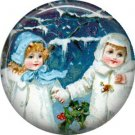 Children in the Snow, Vintage Christmas Scene 1 Inch Pin Back Button Badge - 1037