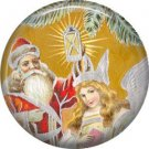 Santa, Vintage Christmas Scene 1 Inch Pin Back Button Badge - 1038