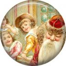 Children, Vintage Christmas Scene 1 Inch Pin Back Button Badge - 1040