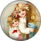 Girls, Vintage Christmas Scene 1 Inch Pin Back Button Badge - 1041