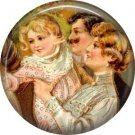 Family Waiting for Santa, Vintage Christmas Scene 1 Inch Pin Back Button Badge - 1044