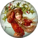Lady in Red, Vintage Christmas Scene 1 Inch Pin Back Button Badge - 1045