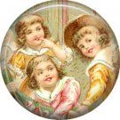 Happy Children, Vintage Christmas Scene 1 Inch Pin Back Button Badge - 1047