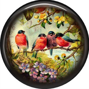 Birds on a Branch, 1 Inch Pinback Button Badge Pin - 0229