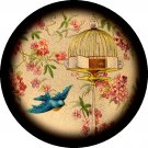 Blue Bird and Bird Cage, 1 Inch Pinback Button Badge Pin - 0231