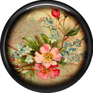 Pink and Blue Flowers, 1 Inch Pinback Button Badge Pin - 0238
