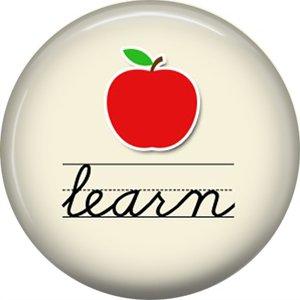 1 Inch Learn, Teacher Appreciation Button Badge Pin - 0850