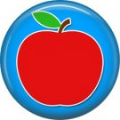 1 Inch Apple on Blue Background, Teacher Appreciation Button Badge Pin - 0865