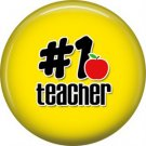 1 Inch #1 Teacher on Yellow Background, Teacher Appreciation Button Badge Pin - 0867