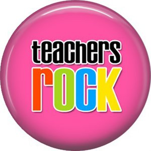 1 Inch Teachers Rock on Hot Pink Background, Teacher Appreciation Button Badge Pin - 0882