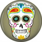 White Sugar Skull on Olive Green, Dia de los Muertos 1 Inch Button Badge Pin - 6254