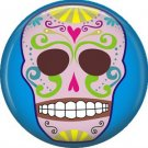 Lavender Sugar Skull on Blue Background, 1 Inch Dia de los Muertos Button Badge Pin - 6258