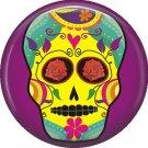 Yellow Sugar Skull on Purple Background, 1 Inch Dia de los Muertos Button Badge Pin - 6260