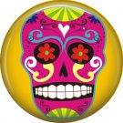 Purple Sugar Skull on Yellow Background, 1 Inch Dia de los Muertos Button Badge Pin - 6262